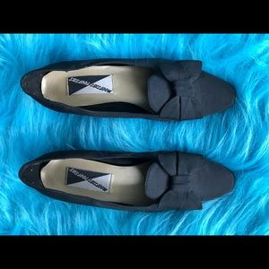 Vintage Fabric Dress Flats Kitten Heels Black Bow